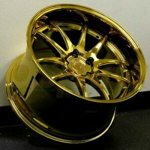 19 Inch Aodhan Ds02 19x11 5x114 3 15 Wheels Deep Dish Vacuum Gold Rims Set 4
