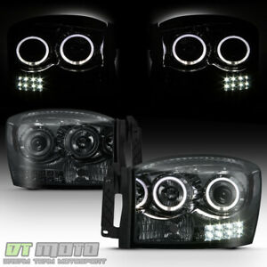 Smoke 2006 2008 Dodge Ram 1500 2500 3500 Led Halo Projector Headlights Headlamps