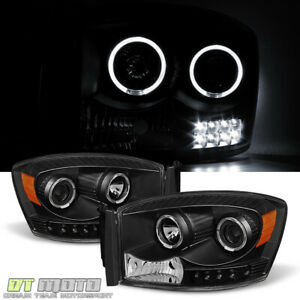 Black 2006 2008 Dodge Ram 1500 2500 3500 Led Halo Projector Headlights Headlamps