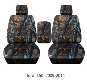 Front Set Seat Covers Fits Ford F150 Truck 2009 2014 Buckets With Console Lid