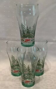4 Vintage Green Glass ENJOY COCA COLA CHRISTMAS HOLIDAY HOLY GLASSES