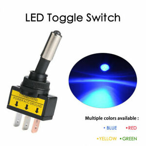 Led On off Toggle Switch Spst 12v 20a 3 Pin Rectangular For Automotive Boat