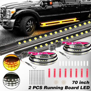 2x70 in Running Board Led Light Kit Side Step White amber Turn Signal Drl Strip