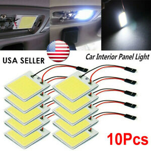 Usa 10pcs White 48 Smd Cob Led T10 4w 12v Car Interior Panel Lights Dome Bulb Gh