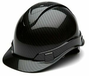 Full Safety Helmet Hard Hat Protection Carbon Fiber Glossy Ratchet Suspension