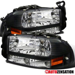 For 1997 2004 Dakota 1998 2003 Durango Black Headlights Lamps Pair