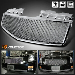 For 2003 2007 Cadillac Cts Honeycomb Style Chrome Front Bumper Hood Grill Grille