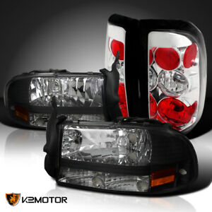 For 1997 2004 Dodge Dakota Black 1pc Style Headlights clear Rear Tail Lamps