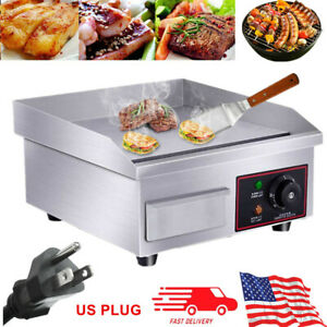 1500w Commercial Electric Countertop Griddle Flat Top Restaurant Grill Bbq Hot