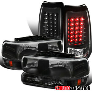 For 1999 2002 Chevy Silverado Fleetside Black Headlights bumper led Tail Lamps