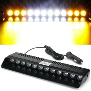 12led Car Amber White Amber Emergency Warning Dashboard Flash Strobe Light Bar