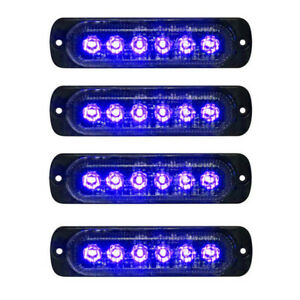 4x 6led Car Truck Emergency Beacon Warning Hazard Flash Strobe Light Blue Blue