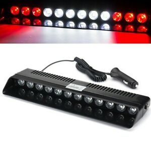 12led Car Red White Red Emergency Warning Dashboard Visor Flash Strobe Light Bar