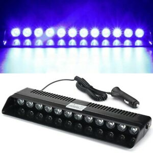 12led Car Blue Blue Emergency Warning Dashboard Visor Flash Strobe Light Bar