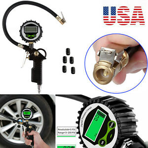 200psi Lcd Electric Digital Tire Pressure Gauge Inflator Gauge Rubber Air Hose