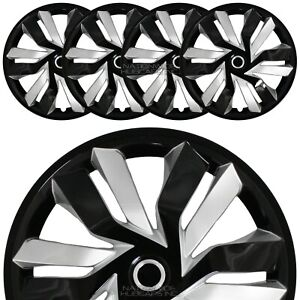 15 Set Of 4 Black Silver Wheel Covers Snap On Hub Caps Fit R15 Tire