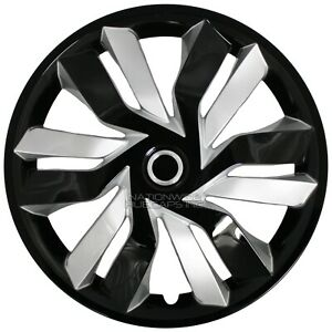 15 Set Of 4 Black Silver Wheel Covers Snap On Hub Caps Fit R15 Tire Steel Rim