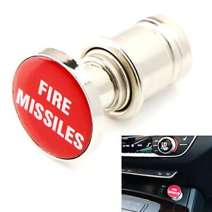 Sports Red fire Missiles Push Button Design Car Cigarette Lighter Plug Cover