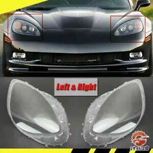 Headlight Lens Lenses Cover Left Right Clear Anti Uv For C6 Corvette 2005 2013