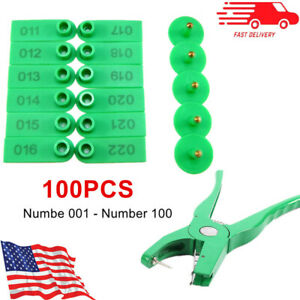001 100 Number Goat Sheep Pig Cattle Livestock Ear Tag Applicator Plier Green
