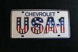 Vintage Chevy Usa 1 Bowtie Small Hole Dealer Front License Plate Topper