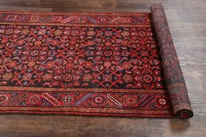 Navy Blue Vintage Hamadan Traditional Runner Rug Wool Hand Knotted All Over 4x13