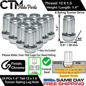 24pc Lexus Chrome 12x1 5 Tuner Racing Spline Wheel Lug Nuts key For Lexus