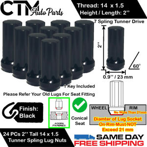 24pc Chevrolet Black 14x1 5 Tuner Racing Spline Wheel Lug Nuts Key For Chevy
