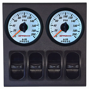 2 Dual Needle White Air Gauges 200 Psi Display Panel With 4 Paddle Switches