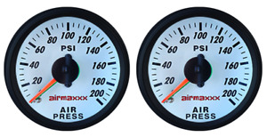 Two Air Gauges Dual Needle 200 Psi Air Ride Suspension System 2 White Face Led