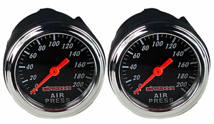 2 Air Gauges Single Needle 200 Psi Air Ride Suspension System 2 Black Face Led