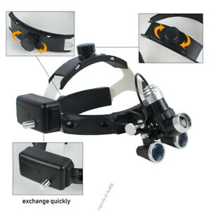 Dental Surgical Medical Headband Ajustable 3 5x Binocular Loupes Headlight Led