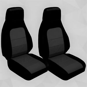 Front Set Car Seat Covers Fits Mazda Miata 1990 2012 Black And Charcoal