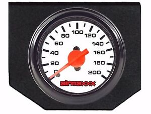 Air Ride Suspension Single Needle White Gauge Panel Display 200psi No Switches