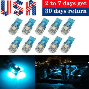 10x Ice Blue T10 5050 5smd Led Interior Dome Map Lights Instrument Dash Bulbs
