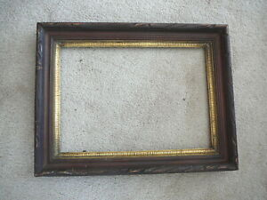 Antique Victorian Carved Deep Well Walnut Finish Gold Picture Frame 10x14 Id