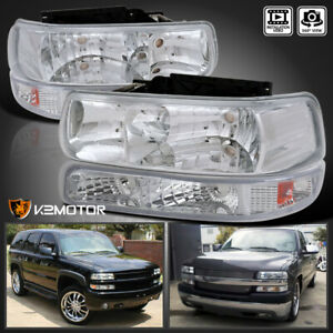 For 1999 2002 Chevy Silverado Crystal Clear Lens Headlights parking Bumper Lamps