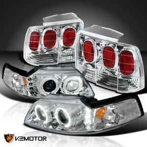 Fit 1999 2004 Ford Mustang Projector Headlights rear Brake Lamps Tail Lights