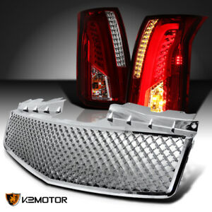 Red smoke 2003 2007 Cadillac Cts Led Bar Tail Lights honeycomb Front Hood Grille