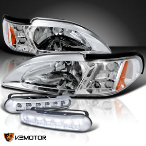 Fit 94 98 Ford Mustang Crystal Chrome Headlights Signal Led Daytime Running Lamp