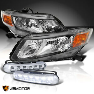 For Honda 2012 2015 Civic 2 4dr Replacement Black Headlights W 6 led Fog Lamps
