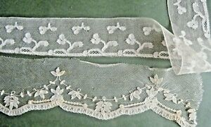 Antique Lot Of 2 Trims Brussels Princess Lace 18 And Mechlin Lace Trim 26