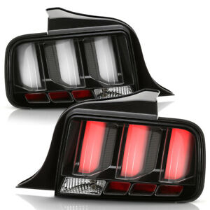 Black Led Tube Sequential Signal Tail Lights Lamps For 2005 2009 Ford Mustang