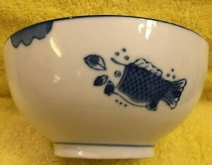 Old Chinese Porcelain Rice Bowl Blue Fish Hand Painted Nice Collection