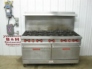 Vulcan Vg60 Heavy Duty Ten 10 Burner Nat Gas Range Stove W Double Oven