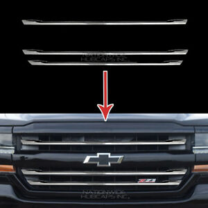 2016 2018 Chevy Silverado 1500 Lt Z71 Chrome Snap On Grille Overlay Grill Covers