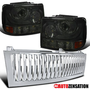 Fit 1999 2002 Chevy Silverado 1500 Smoke Projector Headlights chrome Hood Grille