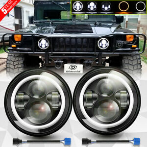 2x 7 Inch Round Projector Led Headlights Halo Ring For Hummer H1 H2 Am General