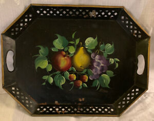 Vintage Nashco Hand Painted Tole Ware Serving Tray Fruit Signed Francis 15 X 20