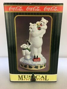 Vintage Coca Cola Polar Bear Musical figurine Town Square Collection 1996 Coke